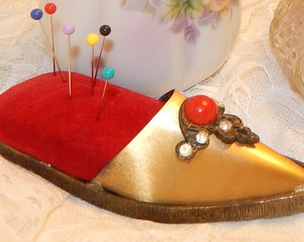 SALE.......Antique Brass Slipper Shoe Shaped Pin Cushion with Red Velvet Cushion , Red Cabochon, and Clear Rhinestones