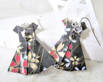 Origami Jewelry - Paper Dress Earrings - Paper Anniversary - Paper Jewelry - Origami Earrings - WY11 - VonnesHandmadez