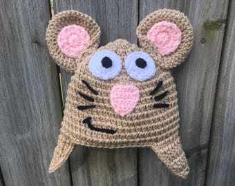 The Gruffalo Mouse Inspired Crochet Beanie Hat with Mouse Ears, Ear Flaps, and Whiskers.