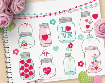 Valentine Masson Jars Clipart, Jars with hearts, flowers, hand drawn, candy, jar of hearts, Commercial Use, Vector clip art, SVG Cut Files