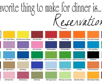 My Favorite Thing To Make For Dinner Is Reservations Wall Quote