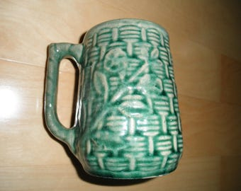 Vintage Majolica Stoneware / Pottery Mug, Green Basketweave with Floral, As Is
