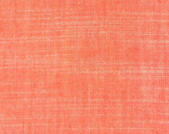 Chambray Coral Organic Cotton, Coral Chambray Fabric