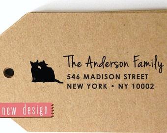 CUSTOM address STAMP from USA for Cat Lover, pre inked stamp, Wedding Stamp, rsvp stamp, return address stamp with proof, Cat c6-39
