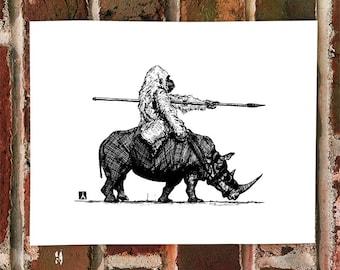 KillerBeeMoto: Limited Print of Gorilla Riding A War Rhinoceros