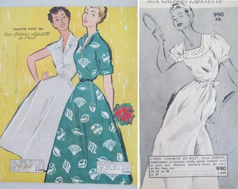 Fabulous vintage French Summer 1953 catalogue~Galeries Lafayette, Toilettes~Amazing 50s reference with stunning illustrations