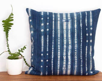 "Oversized Indigo Pillow Cover - West African Indigo -  Hand Woven - Mali - 24"" x 24""  - Housewarming - resist dye -  Down Pillow Optional"