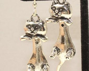Cat Earrings - Cats - Cat Gift - Silver Cat Earrings - Cute Cat Earrings - Gift for Cat Lovers - Long Cat Earrings - Hanging Cat Earrings