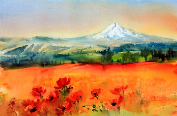 Mt. Hood from Goldendale - a signed print of a watercolor painting done by Columbia Gorge artist Bonnie White
