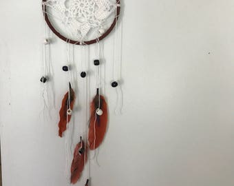 Crochet dream catcher - brown orange red white