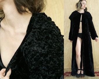Black Velvet Cape 60's - Black Velvet Robe 1960 House Coat Cape - Free size