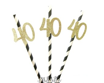 Black & Gold Glitter Number 40 Paper Straws - birthday straws, 40 straws, 40 and fabulous party, gold 40 straws, 40th birthday party