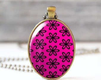 Fuchsia necklace, Floral pendant necklace with flower picture charm, Glass dome oval photo necklace, Jewelry for women, Gift for her, 5004-1