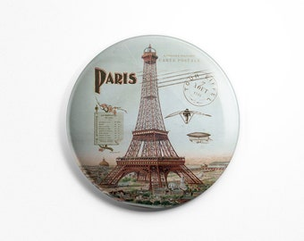 Button Magnet Paris Vintage - Paris Souvenir Eiffel Tower 1900 Old Postcard Fridge Round Magnet 56mm diameter Kitchen Decoration