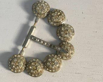 Vintage rhinestone belt buckle ladies art deco belt as found