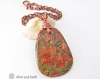 Unakite Necklace, Big Stone Pendant, Copper Chain Necklace, Pink Green Stone Necklace, One of a Kind, Natural Stone Jewelry, Earthy Necklace