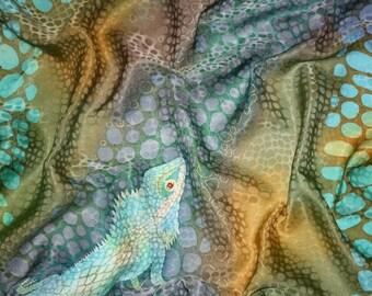 Lizard scarf blue brown hand paint Batik silk shawl Women square scarf Animal art wrap Lizard lover wife gift Mother silk shawl Unique gift