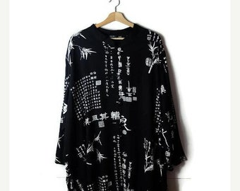 ON SALE Vintage Oversized Kanji/Chinese character printed  Long sleeve Slouchy Blouse