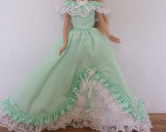Mint green formal gown fits 11 1/2 inch Barbie doll