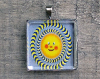 PSYCHEDELIC SUN NECKLACE - White Jewelry Gift for him or her -  Printed on Recycled Paper Under Glass Shield - Unisex Gift - Graduation Gift