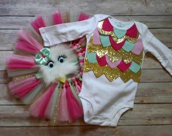 Owl Costume, Owl birthday, baby girl costume, Snow Owl costume, baby owl costume, girl costumes, owl Headband, baby costumes