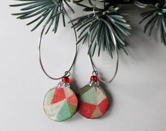 holiday baubles...earrings...festive geometric christmas ornament hoops