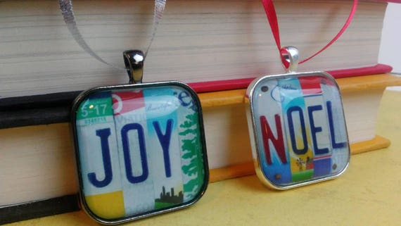 Ornament with License Plate Art - JOY or NOEL - Unique Ornament with License Plate Sign Image - Small Gift  Stocking Stuffer