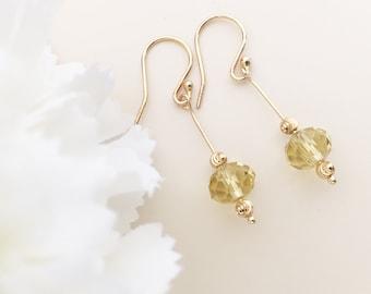 CRYSTAL BEADS EARRINGS filigree gold earrings Fashion Jewelry light yellow Earrings elegant jewelry dangle earrings faceted crystal