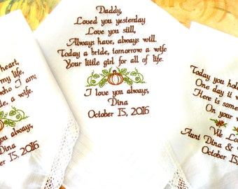 Set of three Wedding gifts for Mom, Dad and your flower Girl Embroidered Wedding Hankerchiefs, Wedding Gift, By Canyon Embroidery