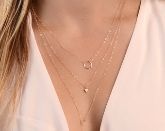 Delicate Layered Necklaces Set, Gold Layering Necklaces, Layered Set of 3 Necklaces, Dainty Minimal Necklaces, Gold Fill, Rose Gold Necklace