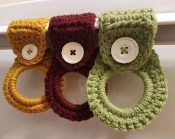 Set of 3 Crochet tea towel holders for a kitchen or bathroom