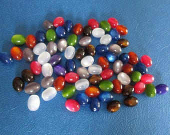 10 beads 12 x 9 mm multicolored resin cat's eye