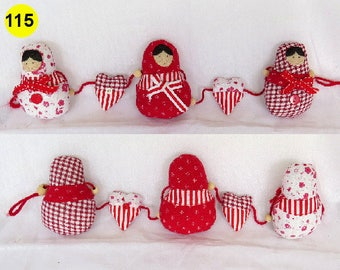 Babushka Matryoshka Heart and Owls Bunting Garland Bedroom Baby Bunting nursery decor padded bunting