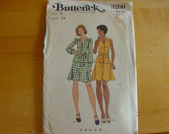 VINTAGE 1970s Butterick Pattern 3200, Misses 2 Piece Dress with Flared Skirt, Size 12, Bust 34, Uncut