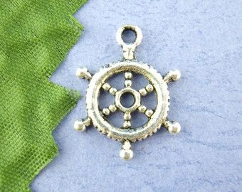 5 pieces Antique Silver Ship Wheel Charms