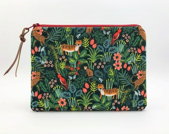 Jungle Animal Fabric Zippered Bag - Cute Floral Pouch - Gifts for Animal Lovers - Tropical Print Zip Pouch - Cute Cosmetic Bags