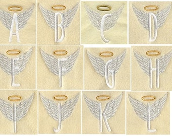 Angel Alphabet Letters A thru Z & Numbers 0 thru 9 - I Will Machine Embroider This Design