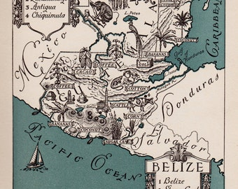 Pictorial Vintage BELIZE Picture Map Belize and Guatemala Print 1940s Map Gallery Wall Art Gift for Boyfriend Birthday Gift