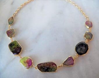 Colorful Druzy and Gold Necklace, Unique Gemstone Necklace, Statement Necklace with Bold Colors, One of a Kind Druzy Necklace, Bold Necklace