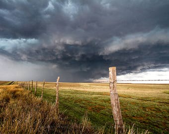 Texas Fine Art Photography Print - Picture of Storm Over Barbed Wire Fence in Texas Panhandle Great Plains Thunderstorm Photo Poster Print