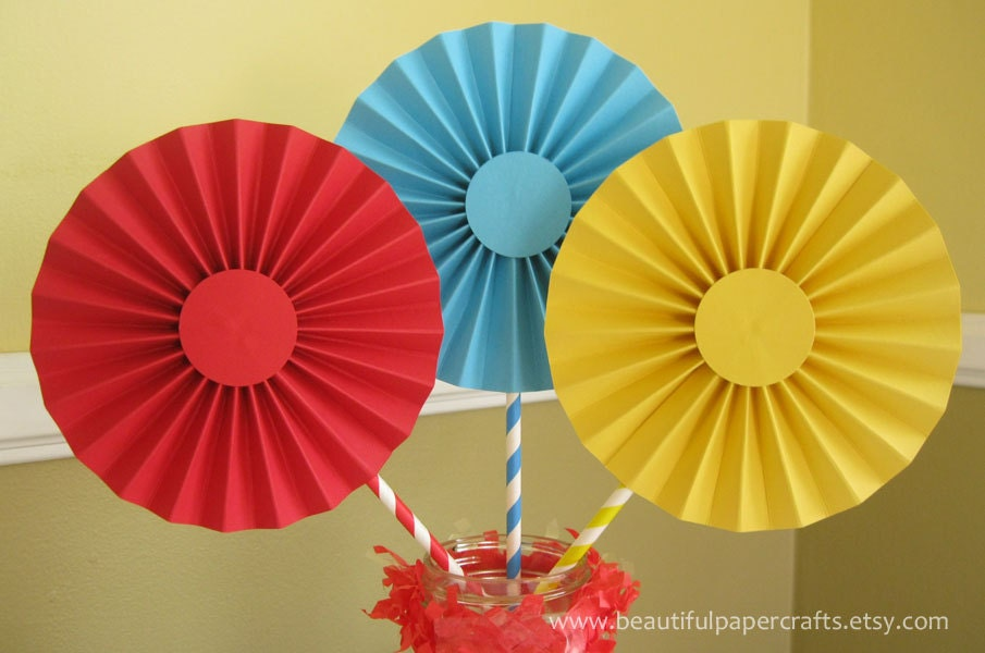 3 6 CircusCarnival Rosettes Centerpieces Paper Fans