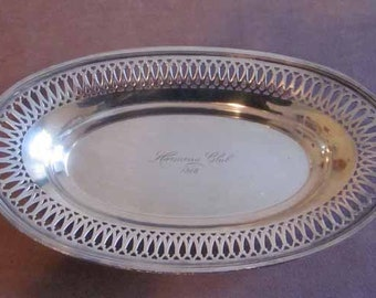 Antique Engraved Oval Silver Plate Tray Harmony Club 1918 by Wallingford Co. of Connecticut