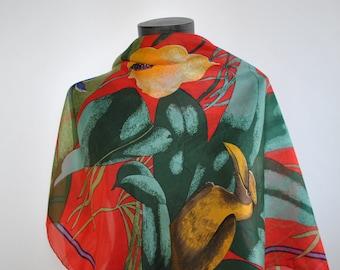 Vintage PRINTED SILK SCARF , exotic pattern silk scarf , hand rolled silk scarf...(117)