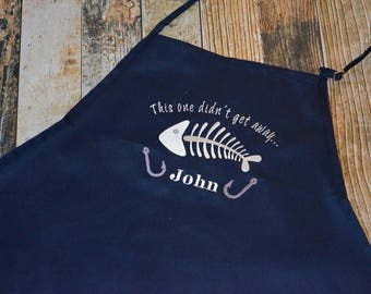 Fishing Personalized Apron - This One Didn't Get Away - BBQ Men's Apron - Fish Skeleton Embroidered Apron - Available in more apron colors