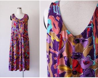 1980's Dress L, Abstract Floral Sundress Large, Rayon Summer Dress, Grunge Dress, Button Back Dress