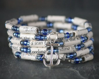 Nicholas Sparks, Message in a Bottle, Message in a Bottle jewelry, Message in a Bottle bracelet, recycled book bracelet, book lover gift