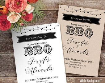 BBQ Invitation, before we say i do bbq, wedding template, Instant Download self editable PDF file WR306