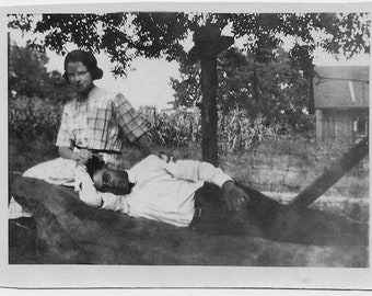 Old Photo Affectionate Couple Holding Hands Cornfield Farm Man Lying Down 1910s Photograph Snapshot vintage