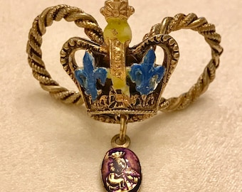 Vintage Crown Scarf Slide By ART with Fluer deLis and Religious Pendant
