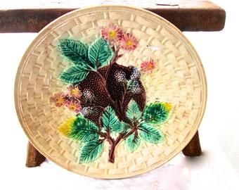 Victorian Majolica Plate Basketweave & Blackberries 1890s